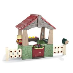 Little Tikes Home & Garden Playhouse. I need to make a garden for LG's playhouse. It needs a floor: mulch, river rocks, or a rubber mat. Also needs a short path of stepping stones in front of the door.
