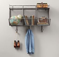 Wonderful Industrial 3 Bin Wall Shelf: With Hooks, Baskets, And Even Shelves,