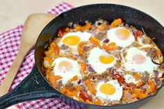 Basque Style Baked Eggs | from Heather VT... substitute sausage, saute veggies instead of bake