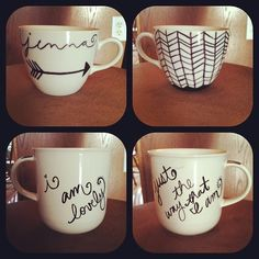 DIY coffee mugs: sharpie+oven 350• for 30 min.  #diy #for #coffee #lovers  (Taken with Instagram)