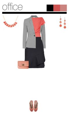 Office outfit: Black - Coral by downtownblues on Polyvore #officewear  #gingham