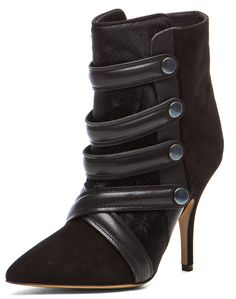 e89c7474a9a Isabel Marant Tacy Pony Booties in Black Goat suede leather upper with  leather sole. Shaft measures approx inch in length. Multiple leather straps  with ...