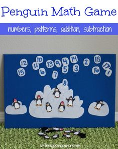 DIY Penguin Counting Math Game! Free printable and ways to play in the post.  There are also directions on how to make a DIY felt board...woo hoo! #KneeBouncersPlay