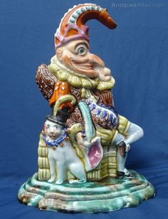 """""""Mr. Punch & Toby"""" Staffordshire Pottery figure, c.1850"""