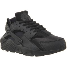 Nike Air Huarache ($140) ❤ liked on Polyvore featuring shoes, black, trainers, unisex sports, black sports shoes, real leather shoes, genuine leather shoes, unisex shoes and leather shoes