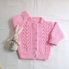 Baby girl pink knit cardigan  6  12 months  Baby by LurayKnitwear