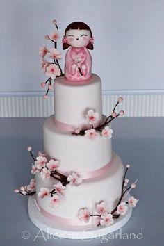 Japanese girl & cherry blossom cake
