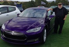 """Game of Thrones"" creator George R.R. Martin in his must-see purple Model S... For more, check out:  www.evannex.com"