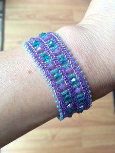 Painted Window bracelet using herringbone stitch.