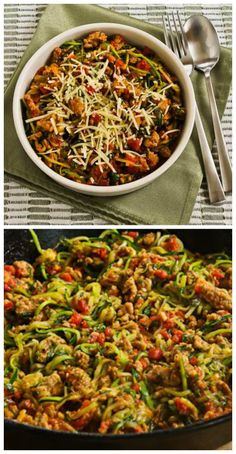 Ten Amazing Low-Carb Recipes for Zucchini Noodles found on KalynsKitchen.com.