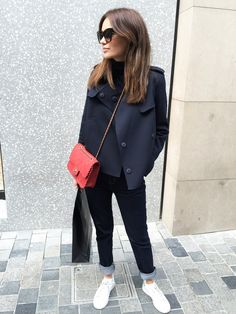 Casual everyday look with red Chanel bag