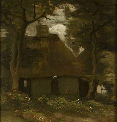 Van Gogh - Bauernhaus mit zwei Bäumen und Bäuerin, 1885