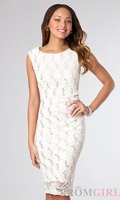 Knee Length Sleeveless Lace and Sequin Embellished Dress at PromGirl.com
