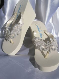 Ivory Flip Flops White Flip Flops with Crystals by ABiddaBling, $59.99