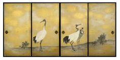 Jeune pin et grues, Maruyama Ōkyo (1733-1795), Epoque d'Edo (1615-1868), 1787, Encre, couleurs légères et particules d'or sur papier, Quatre portes coulissantes, paroi nord de la salle des grues, Omote-shoin, Chaque panneau