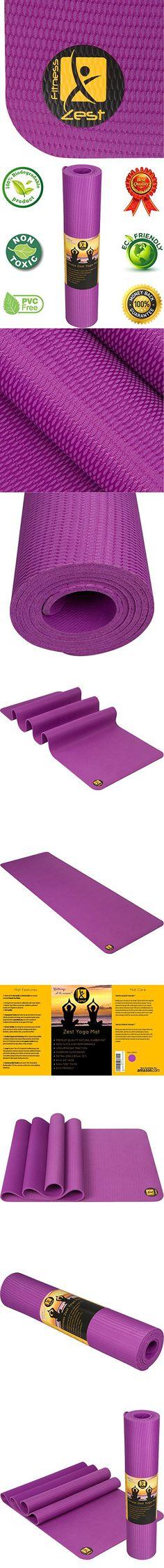 Fitness Zest 5mm Natural Rubber Yoga Mat, Purple