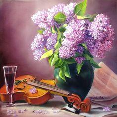 живопись - натюрморт, купить картину Сирень и скрипка