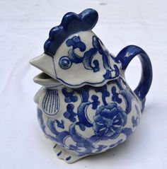 Blue and White Pottery Rooster Chicken Hen Teapot