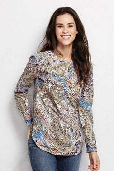 e463f93a3ce19 Women s Long Sleeve Cotton Tunic Top - Pattern from Lands  End Cotton  Tunics