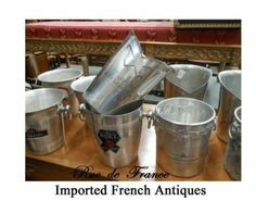 ANTIQUE VINTAGE METAL FRENCH CHAMPAGNE - WINE  BUCKETS