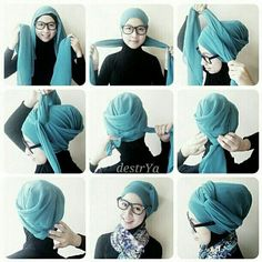 Turban hijab style for school Very easy ;) Turban hijab style for school Very easy 😉 Turban Tutorial, Hijab Style Tutorial, Hair Wrap Scarf, Hair Scarf Styles, Mode Turban, Moslem, Hair Cover, Turban Style, Beautiful Hijab