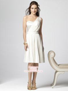 A-line One Shoulder Knee-length Chiffon White Party Dresses #USALF249