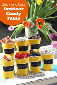 Easy summer BBQ candy table using plastic SOLO cups! | CatchMyParty.com