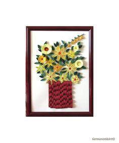 Piquants Posies jaune dans le cadre rouge fleur par GermanistikArt