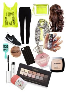 """""""Green"""" by daniellewada ❤ liked on Polyvore featuring Pieces, NIKE, The Case Factory, H&M, Bobbi Brown Cosmetics, Forever 21, women's clothing, women, female and woman"""