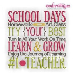 Embroidery Designs (All) - School Days Teacher Word Block on sale now at Embroitique!