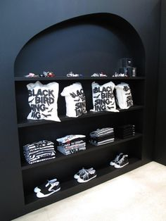 Beautiful shelves in the Edited BLACK Comme des Garçons and Asylum store in Tokyo.