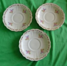 Vintage Sweden Lidkoping ALP 382 3 pcs. of saucer dessert plate 1938 gold trim #Lidkoping