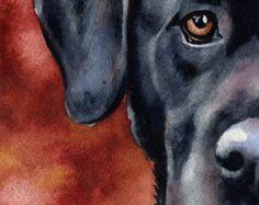 Tirage d'Art de chien Labrador noir signée par par k9artgallery