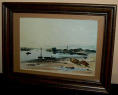 #89 newly framed antique watercolor of a seacoast -image size 14 x 10 cm - 12,500 colones - must pick up in sarchi - call 8722 4390 (3)