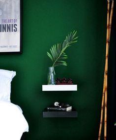 Bedroom Makeover Reveal (Part – The Desi Wonder Woman Bedroom Makeover Reveal (Part Bedroom Reveal: Dramatic, Moody Bedroom, Dark Green Walls, Simple Nightstands Green Rooms, Bedroom Green, Bedroom Colors, Bedroom Apartment, Home Decor Bedroom, Apartment Therapy, Bedroom Ideas, Green Apartment, Bedroom Designs