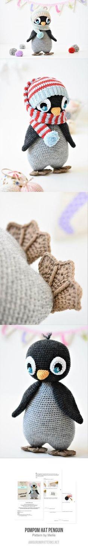 Pompom hat penguin amigurumi pattern by chelsea