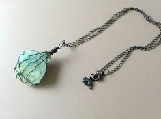 Rustic Wire Wrapped Gemstone Necklace, Chunky Bohemian Rough Stone Pendant, Teal Green Aquamarine Healing Stone, Gypsy, Hippie, Crystal by MadeByMame on Etsy