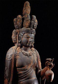 Detail: Japanese National Treasure, Statue of eleven-faced Kannon Bosatsu 十一面観音菩薩(向源寺)