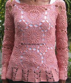 Celeida Artes em Fios: Blusa em crochê com squares! ( rendada)