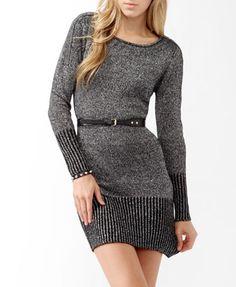 Zippered Metallic-Blend Sweater Dress | FOREVER 21 - 2019571123