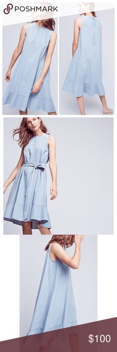 """Anthropologie Denim Tank Dress Anthropologie Picknicker Denim Tank Dress by  Ne Quittez Pas. Wear loose or belted. Wrap belt included. Embroidered detail at shoulders. Back zip closure. Longer length in back. Underarm to underarm 18"""", length approximately 42""""-45"""". 100% cotton. Size small, but fits more like a medium. Anthropologie Dresses Midi"""