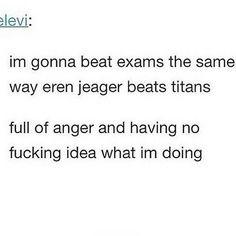 lol<<<< that's a good strategy. Attack on Titan Armin, Levi X Eren, Attack On Titan Funny, Attack On Titan Anime, Funny Tumblr Stories, Tumblr Funny, Otaku, Grisha Jaeger, Aot Memes