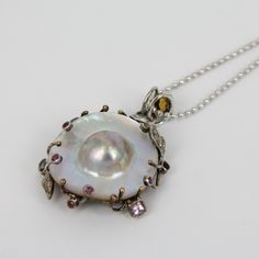 Mother of Pearl on Silver with Sapphires Pendant - Jewellery by Gems-B