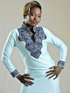 AJAH 2 Blue Kaftan African Dress van AFRICANISEDSHOP op Etsy