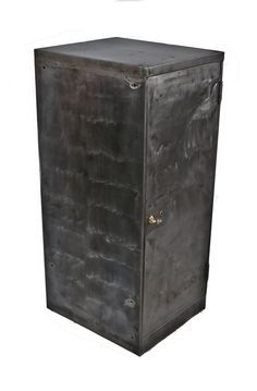 "oversized c. 1920's refurbished american antique industrial freestanding single door all-metal ""lock box"" cabinet with fanciful cast brass t-handle"