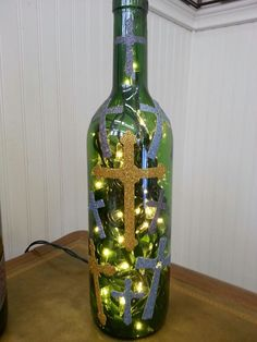 CROSS WINE BOTTLE LAMP
