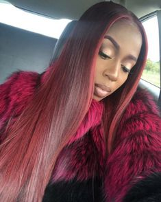Online Shop Ombre hair color sew in human hair bundles and closure and frontal for brunettes colored hair for black off promotion factory cheap price,DHL worldwide shipping, store coupon available. Red Weave Hairstyles, Dope Hairstyles, Protective Hairstyles, Ponytail Hairstyles, Afro, Hair Dye Tips, Beautiful Hair Color, Pretty Hair, Natural Hair Styles
