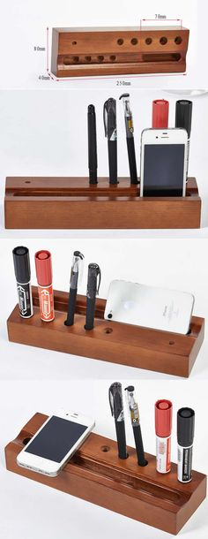 Wood Phone Stand Holder Pencil Pen Holder Desktop Organizer