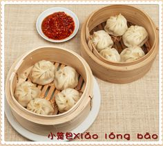 【Steamed Bun---小笼包Xiǎo lónɡ bāo】Xiǎo lónɡ bāo is a type of steamed bun from eastern China, especially Shanghai and Wuxi.The buns are served hot in the bamboo baskets in which they were steamed. It's really delicious.  http://cn.hujiang.com/new/p400840/