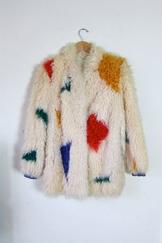 colorful 60's shearling coat